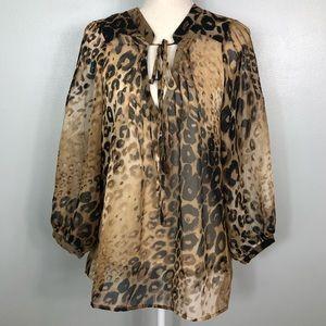 Patterson J Kincaid || Leopard Print Blouse